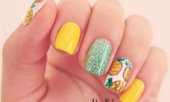Summer Trend Pineapples Adrix Nails Unas Barnices
