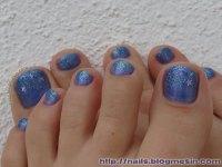 Blue Shimmery Toenails Design - Nails By Rabbit