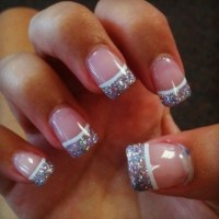 Silver Glitter Tip Acrylic Nails With Design   www ...