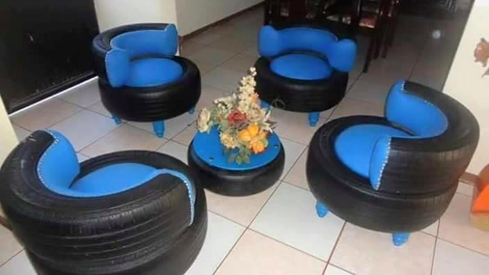 Sofas En Seats Banke, Lady Uses Recycled Tyres To Build Furniture (photos