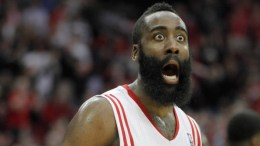 Mar 7, 2014; Houston, TX, USA; Houston Rockets shooting guard James Harden (13) reacts to a play during the third quarter against the Indiana Pacers at Toyota Center. Mandatory Credit: Andrew Richardson-USA TODAY Sports