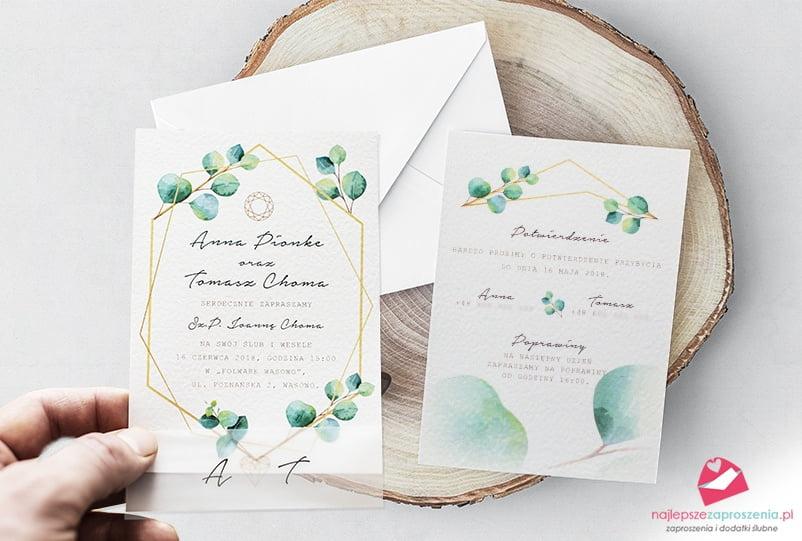 Zaproszenia na ślub \u201eGoldenShape\u201d botaniczne Najlepsze Zaproszenia