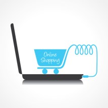 27751592 - online shopping concept with shopping cart and laptop stock vector