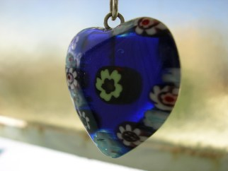 Blue Glass Heart Pendant