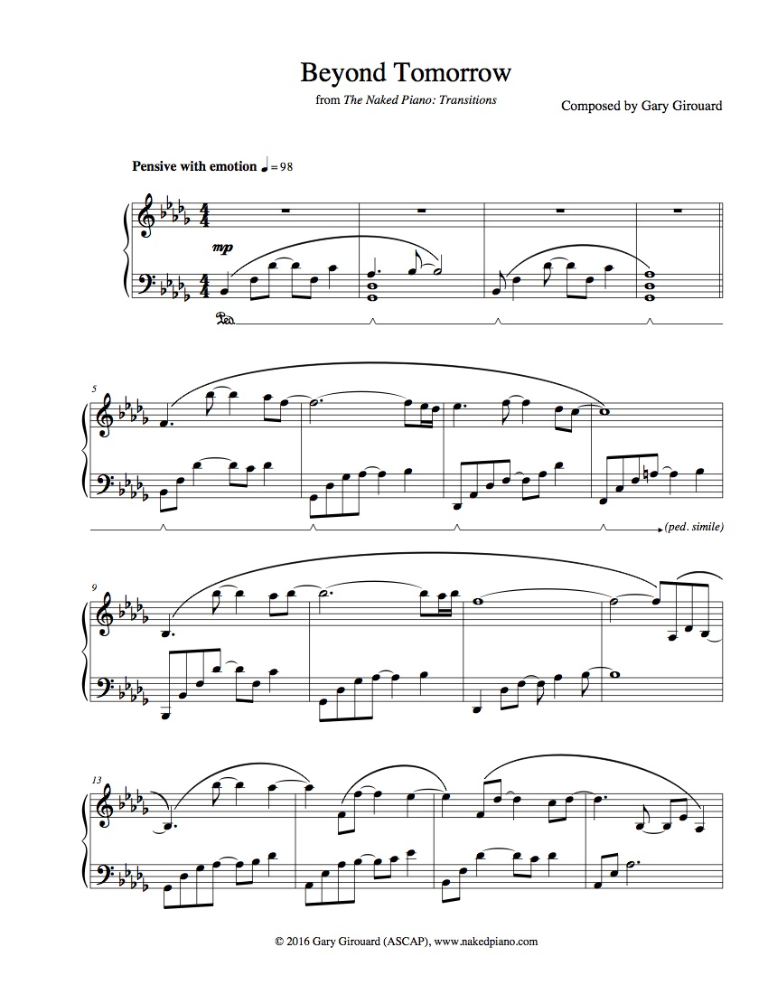 """Beyond Tomorrow"" Solo Piano Sheet Music (from The Naked Piano Transitions)"