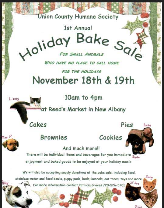 Union Co Humane Society Bake Sale this weekend -