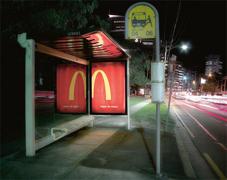 McDonalds Advertising In a Bus Stop