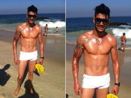 fotos de gusttavo lima na praia usando uma sunga branca