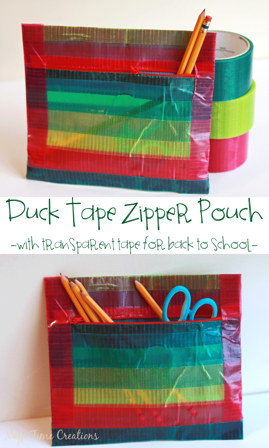 Duck Tape Zipper Pouch with-transparent-tape-a-no-sew-project-for-back-to-school