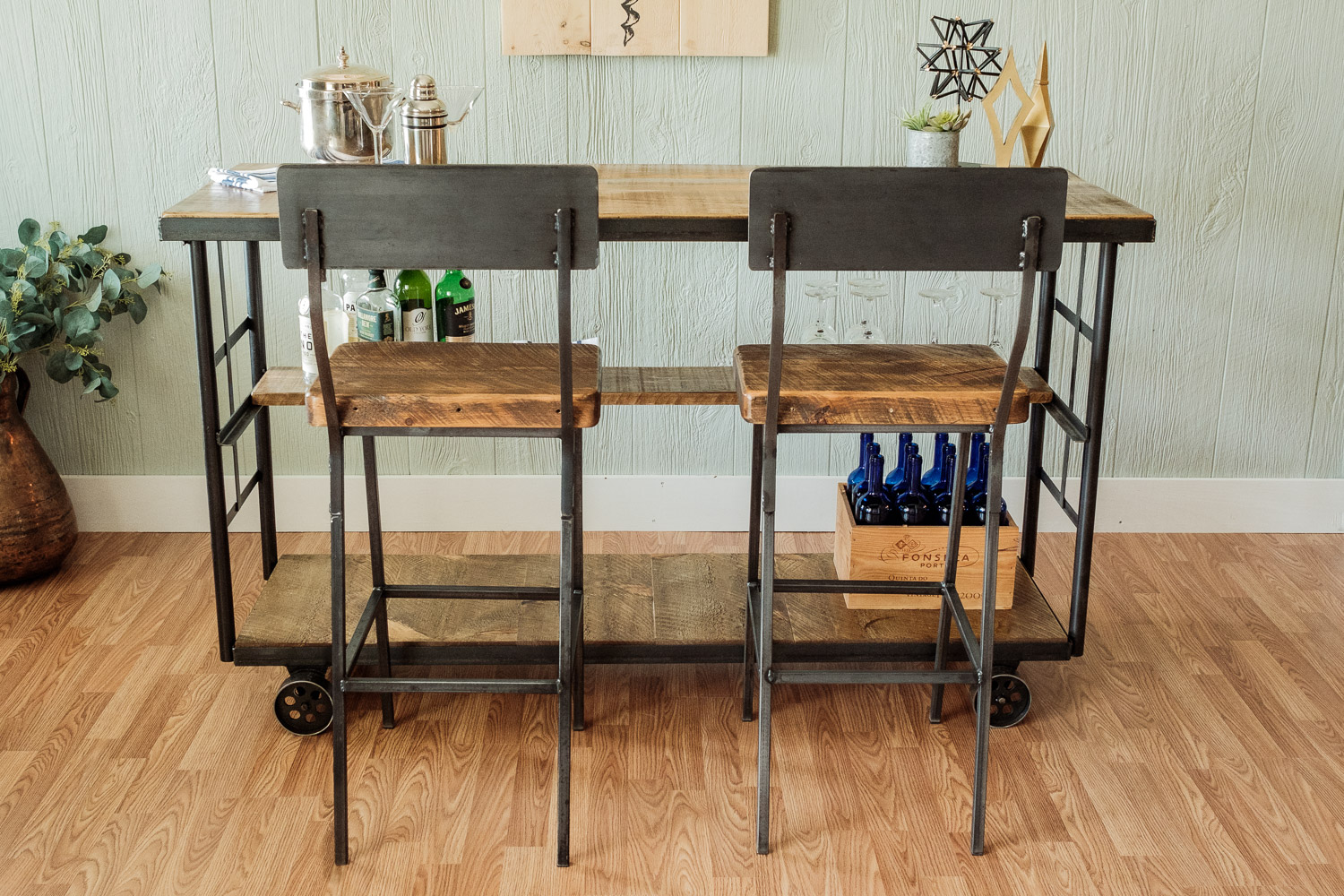 Vintage Cart Rolling Bar With Shelf Napa East