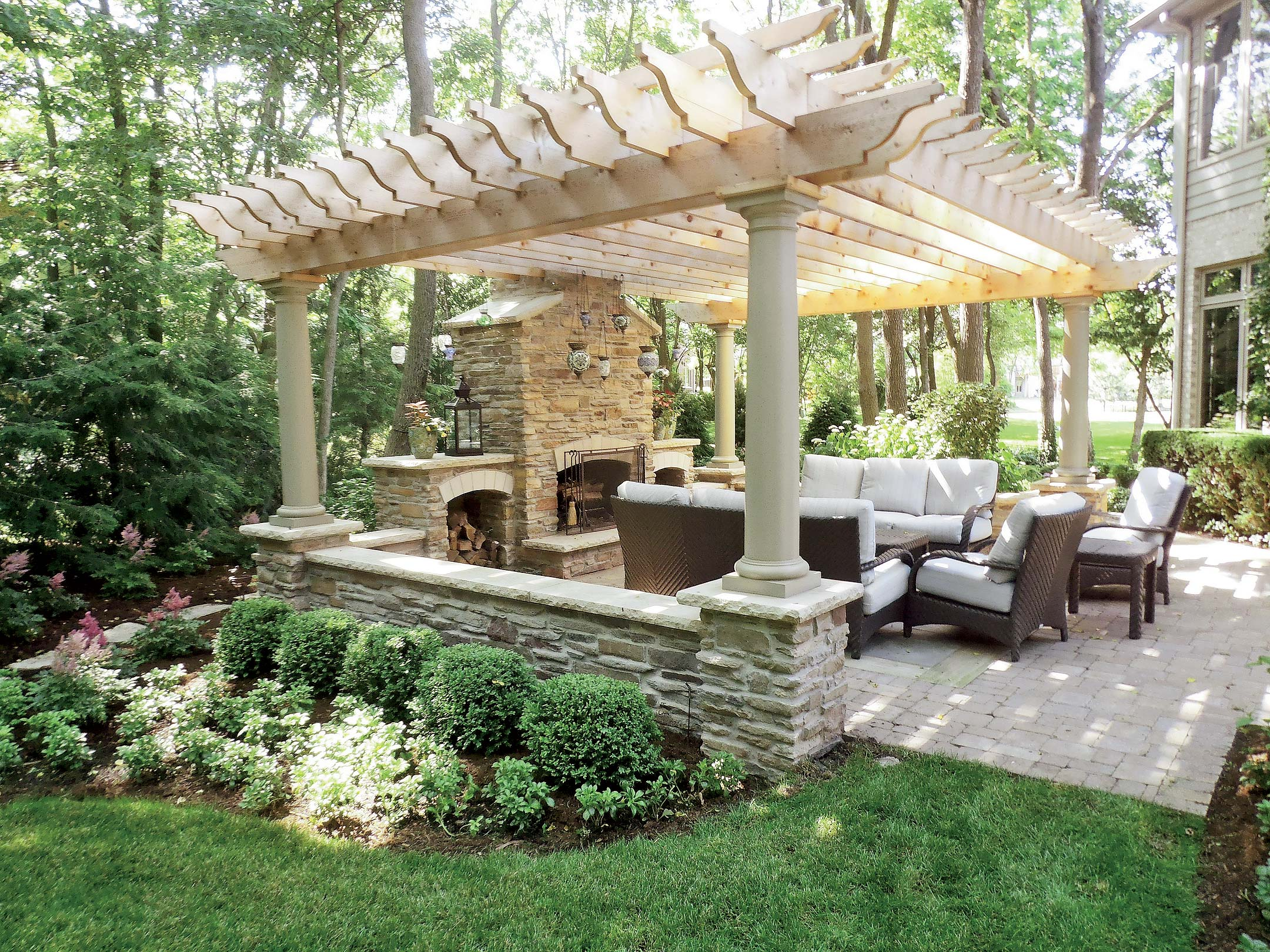 Backyard Fireplace Designs Pergola Patio Fireplace For My Backyard Juxtapost