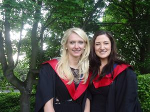 Emily Alford (left) with her classmate Donna Gibbons  (right) at graduation 2013