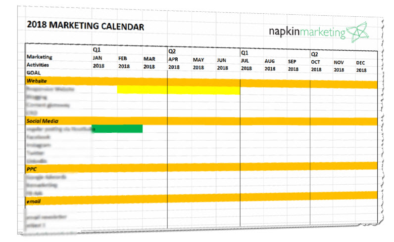 Free 2018 Marketing Plan Calendar Template napkin marketing - calendar template