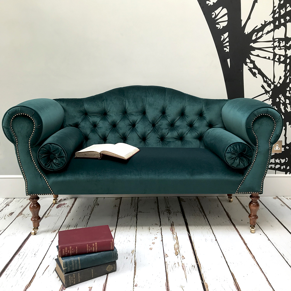 Emerald Green Velvet Sofa | NapoleonRockefeller – Vintage and retro furniture, bespoke hand-crafted chairs and seating