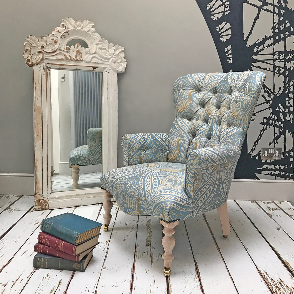 Tamsin Light Blue Peacock Armchair Napoleonrockefeller Vintage And Retro Furniture Bespoke Hand Crafted Chairs And Seating