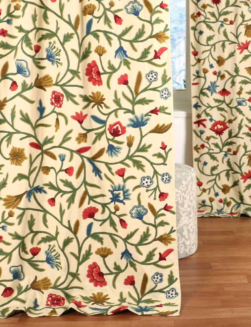 Cotton Curtain Panels Wular Crewel Curtain Panels And Drapes Hand Embroidered Cotton Fabric