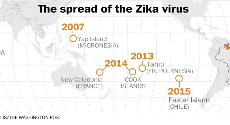 The spread of the Zika virus