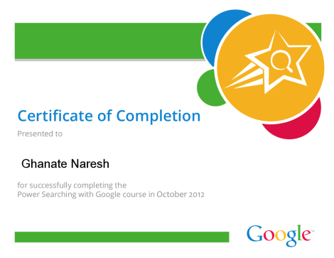 Power Searching with Google certificate of completion