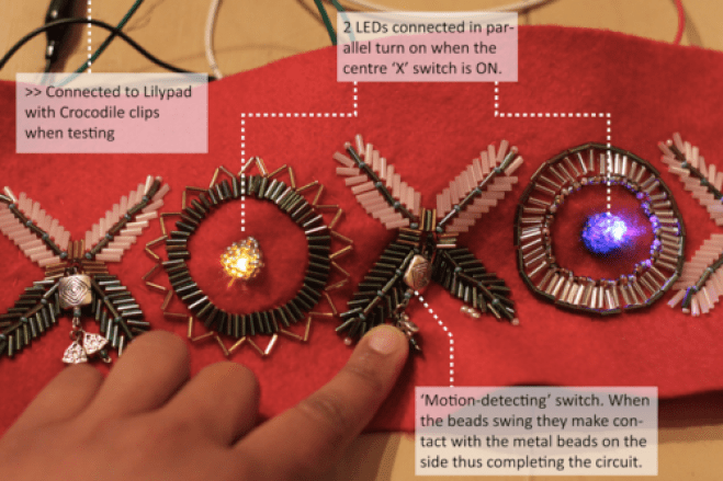 The crowns were made from scratch, using conductive threads and LEDs incorporated into the crown's bead-pattern.