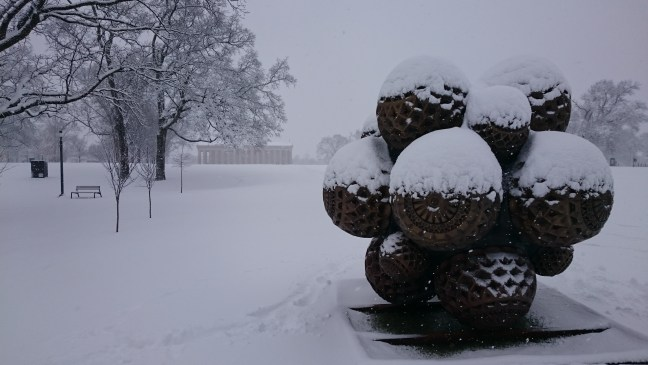 snow on public art installation