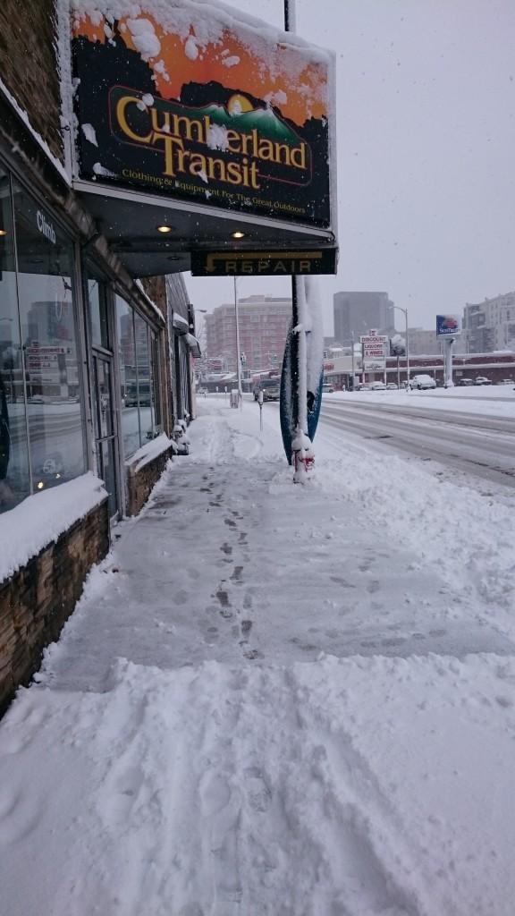 shoveled sidewalk at Cumberland Transit