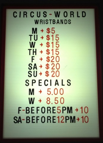 Circus World Prices