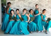 Peacock blue bridesmaid dresses
