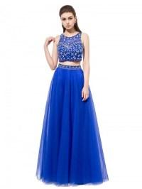 Two piece blue prom dress