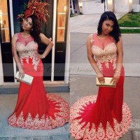 Red and gold prom dresses 2017