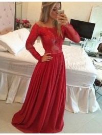 Red long sleeve homecoming dress