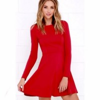 Red skater dress long sleeve
