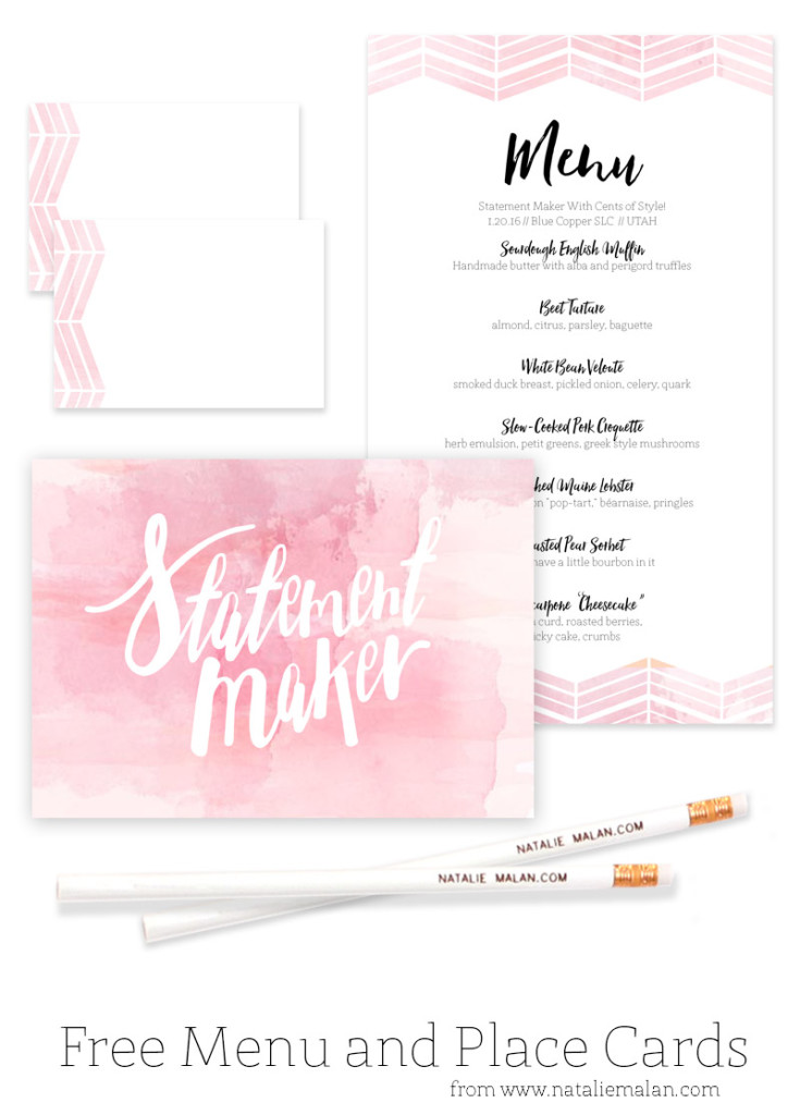 Alt Dinner Free Watercolor Menu and Place Cards - Natalie Malan