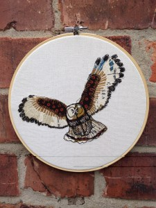 owl embroidery freehand map
