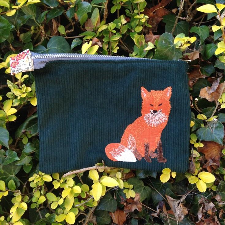 current work, green cord case, kindle, ipad mini, freehand machine embroidery, fox, animal, woodland,
