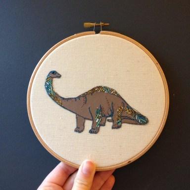 dinosaurs natalie randall textile artisit, original artwork textile art dinosaur