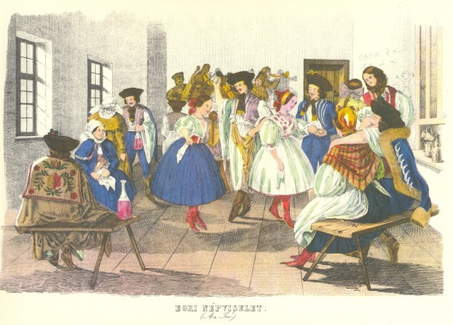 Medve Imre, 1846;  The tavern; Traditional clothing of the citizens of Eger, Hungary - public domain, via Wikimedia Commons