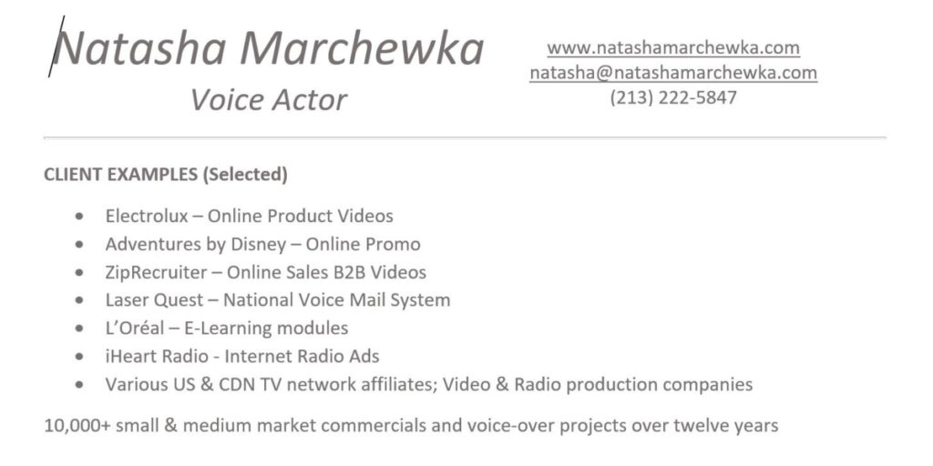 How to Create a Simple  Competitive Voice Actor\u0027s Resume