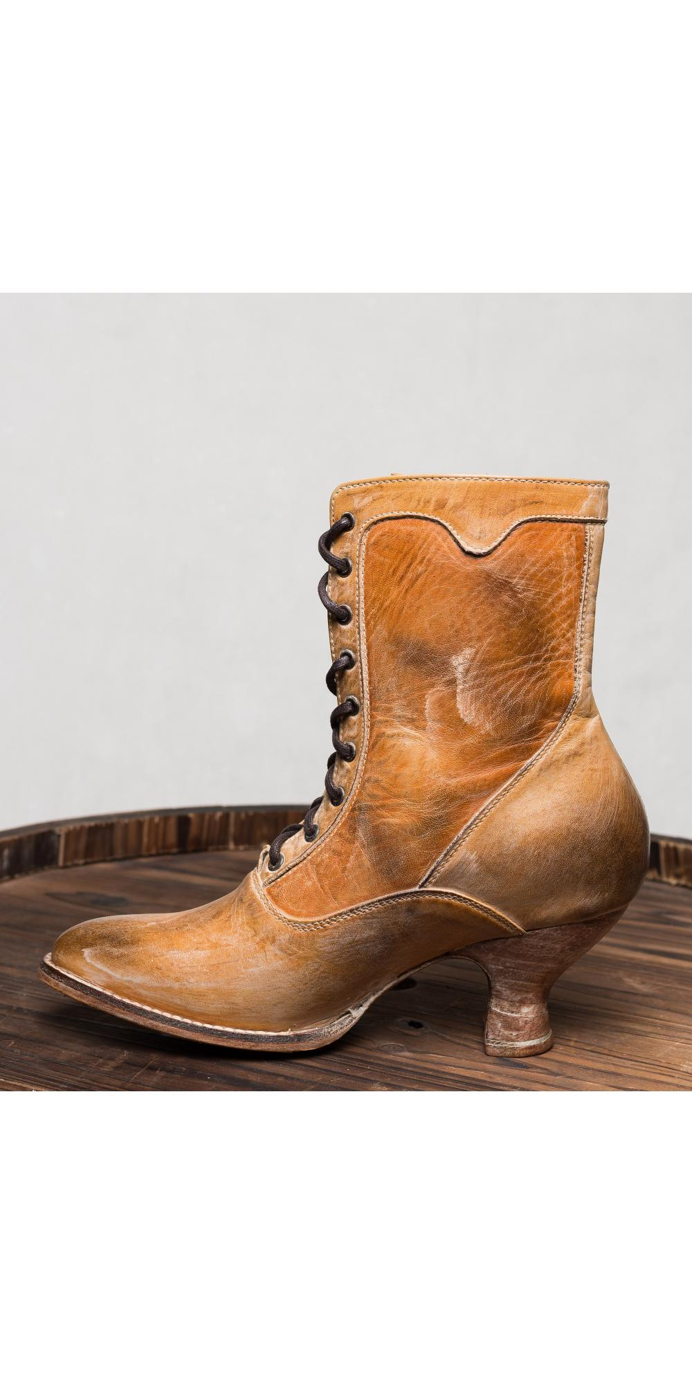 Victorian Style Ankle Boots In Tan Rustic