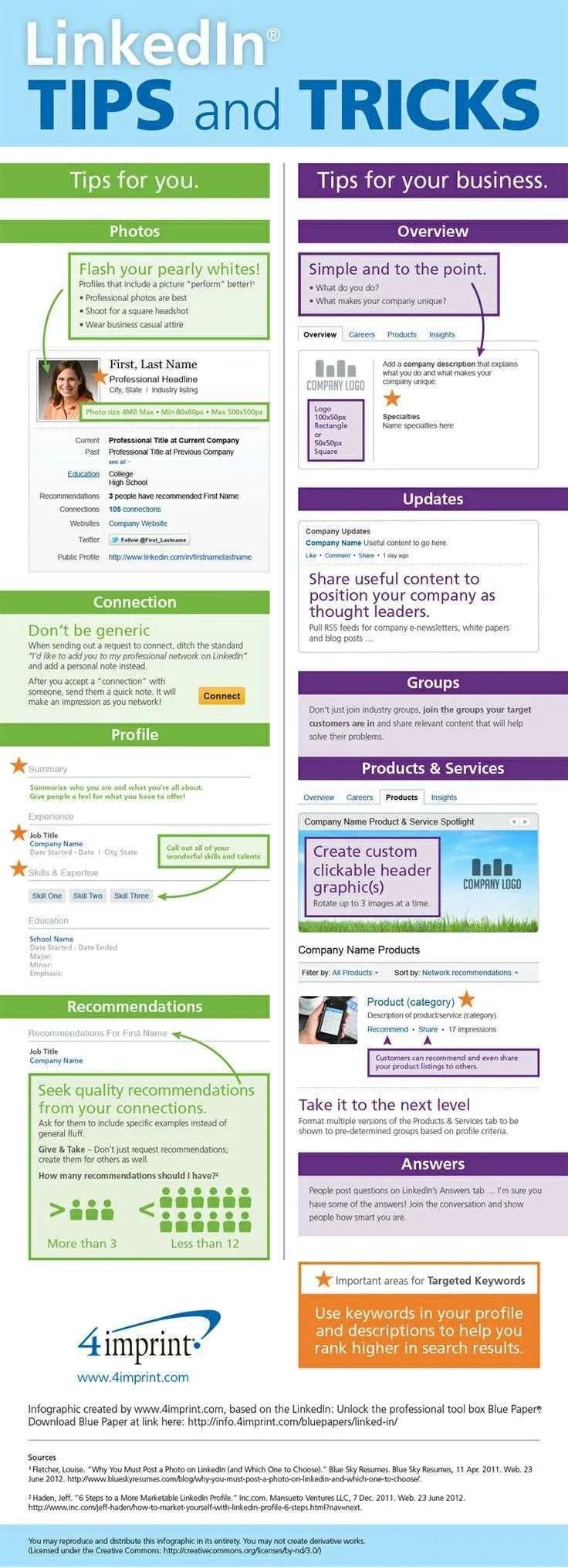 LinkedIn Tips and Tricks - Job Search Infographics