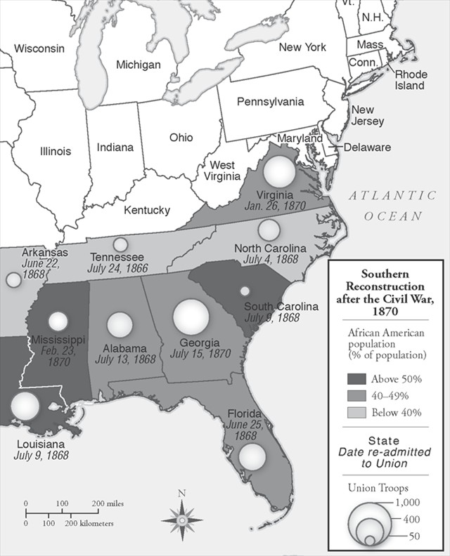 1870) Reconstruction Map, with Union troop levels (1861-1877 - good general objective for resume