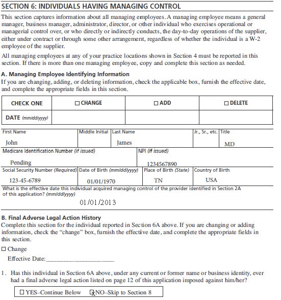 Medicare Application Form 855i | Accounting Resume Book