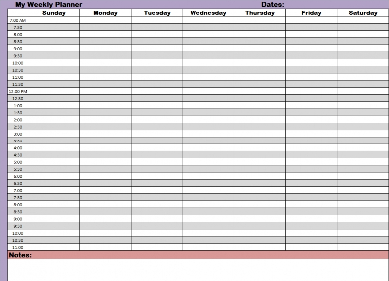 24 Hour Planner Template Business - free daily calendar template with times