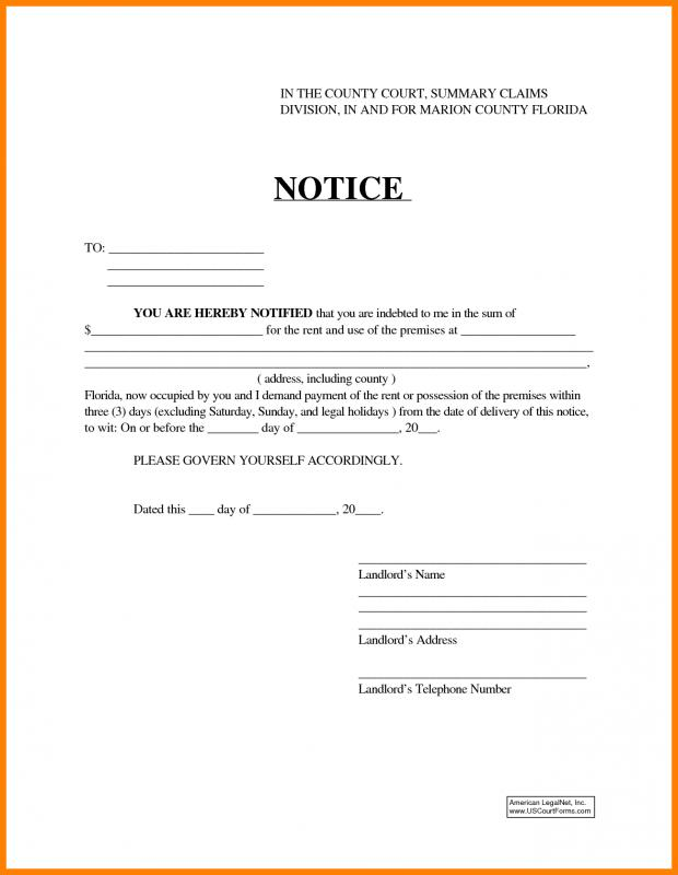 30 Day Eviction Notice Form Template Business - copy of an eviction notice