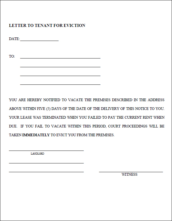 30 Day Eviction Notice Form Template Business - free printable eviction notices