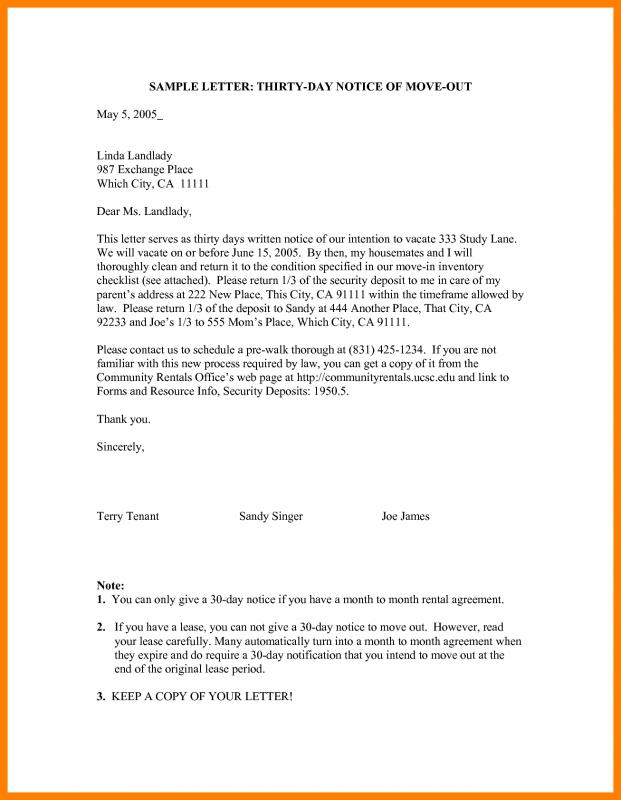 30 Day Notice Letter To Landlord Template Business