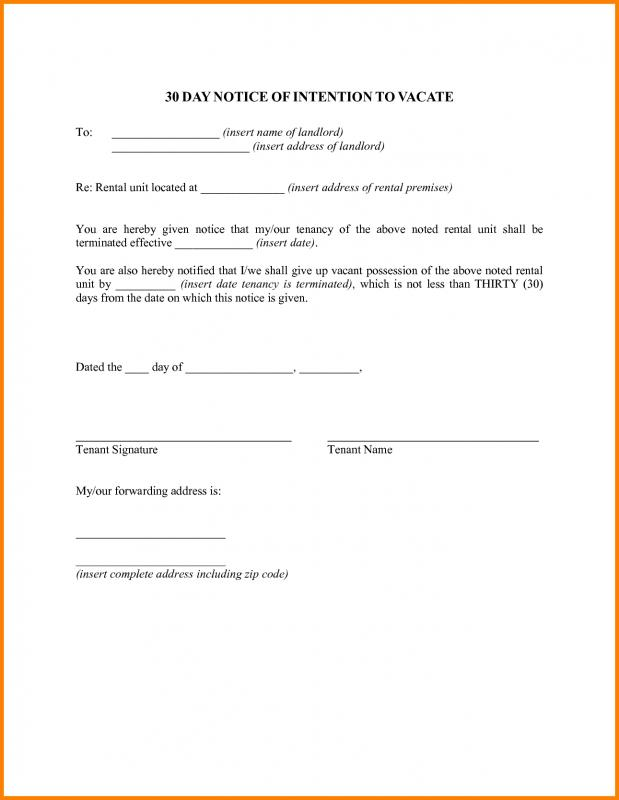 30 Day Notice To Vacate Template Template Business
