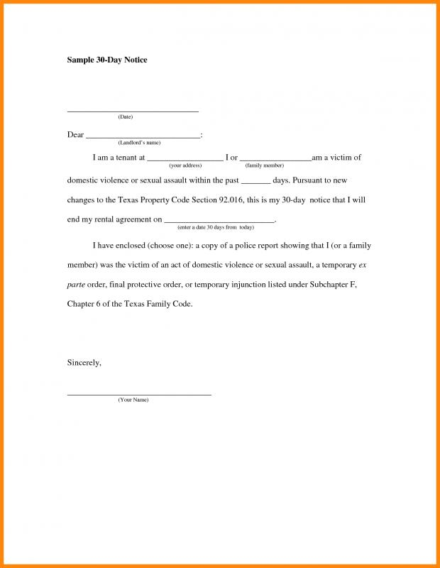 30 Days Notice Letter Template Business