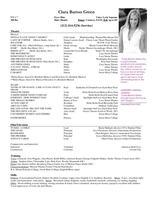 Actors Resume Template Template Business - acting resumes templates
