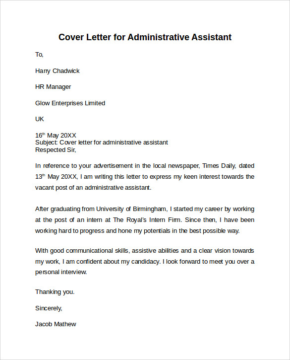 Admin Assistant Cover Letter Template Business