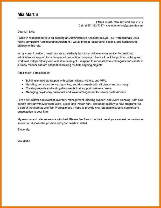 Administrative Assistant Cover Letter Template Business - cover letter for administrative assistant position